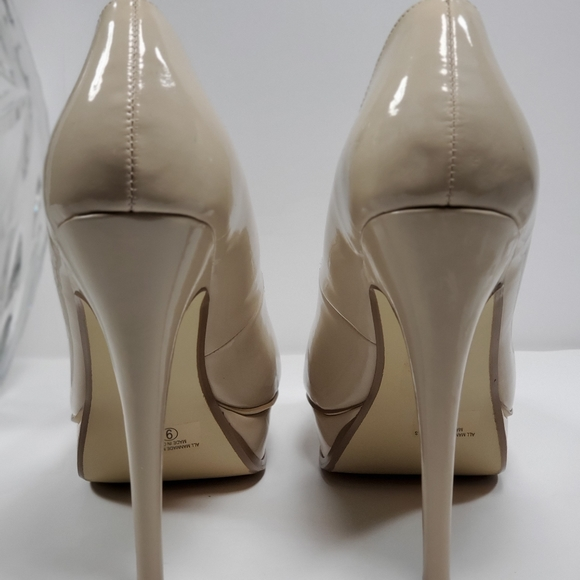 Cole Haan Shoes   Cole Haan Nude Leather Patent Peep Toe